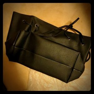 Simple black tote bag with additional two acces